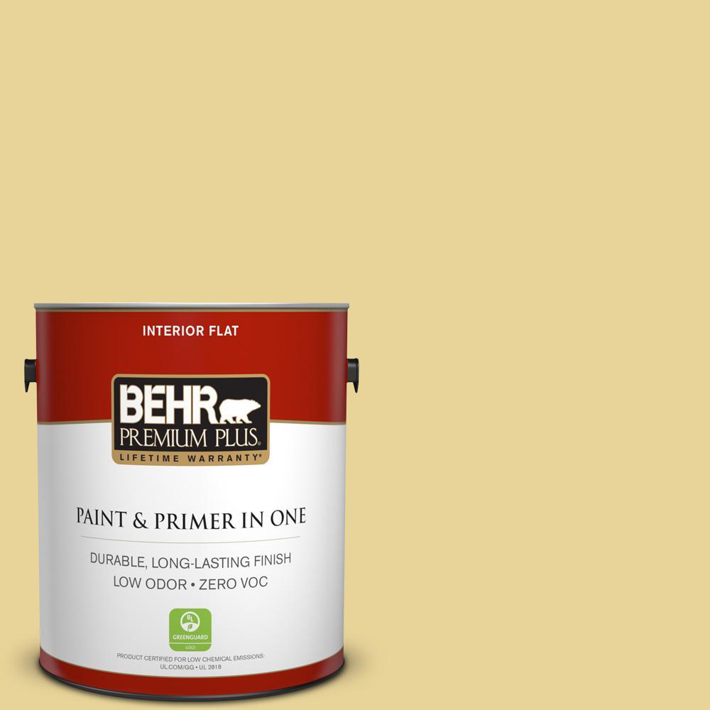 BEHR Premium Plus 1 gal. #390D-4 Honey Beige Flat Low Odor Interior ...