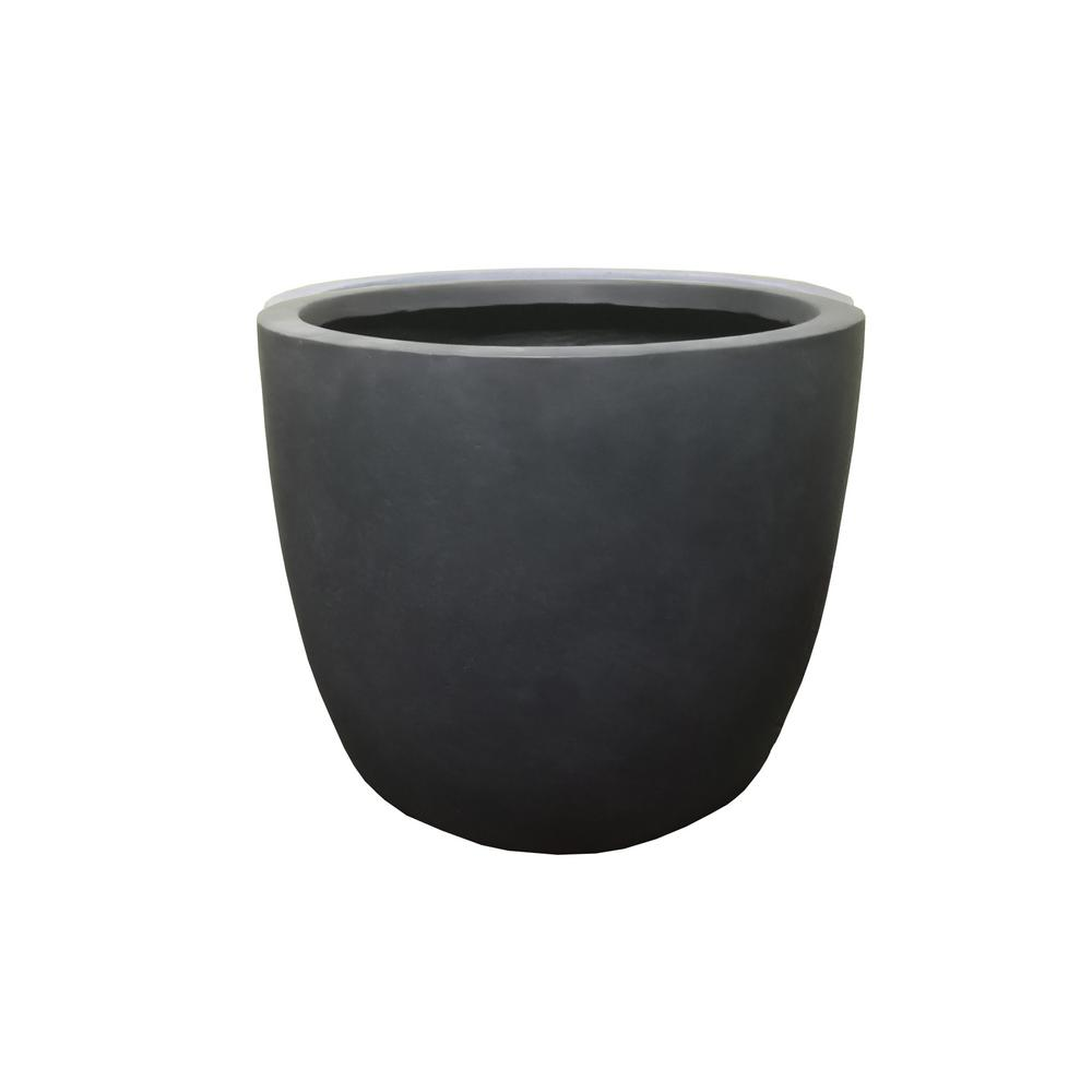 KANTE 17 in. Tall Charcoal Lightweight Concrete Round Modern Seamless Outdoor Planter