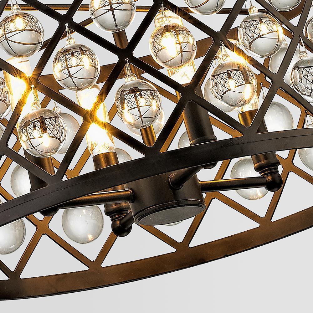 Home Decorators Collection 1-Light Antique Bronze Mini Pendant w//Cognac Crystal