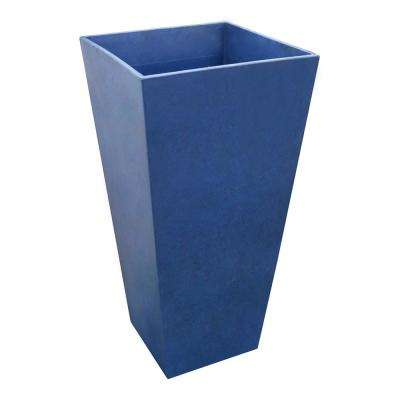 Sonata 14 in. W x 28 in. H Square Cobalt Blue Rubber Self-Watering Planter