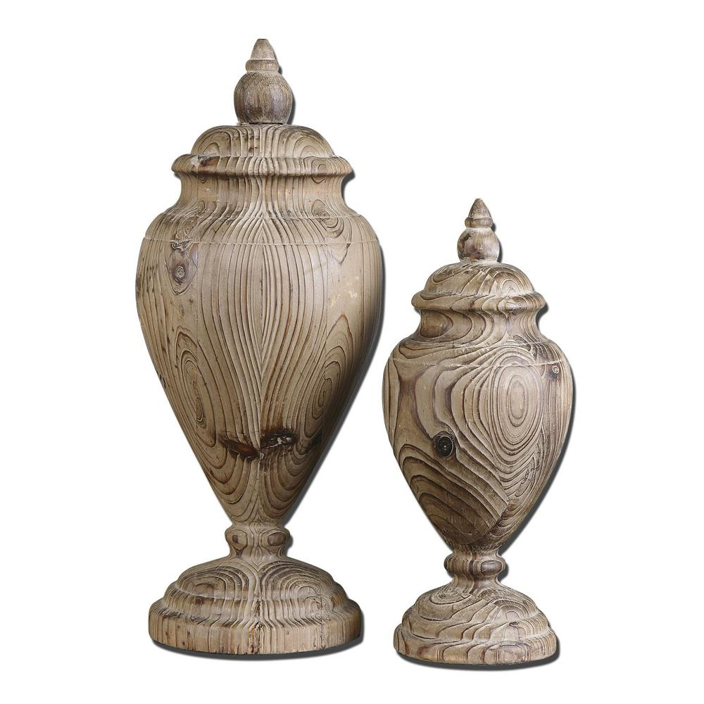 7.5 in. x 17.75 in. Brisco Finials in Natural Wood (Set