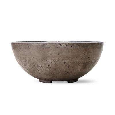 Belvedere 29 in. x 14 in. Round Concrete Natural Gas Fire Pit in Pewter with 54 lbs. Bag of 0.75 in. Black Lava Rocks