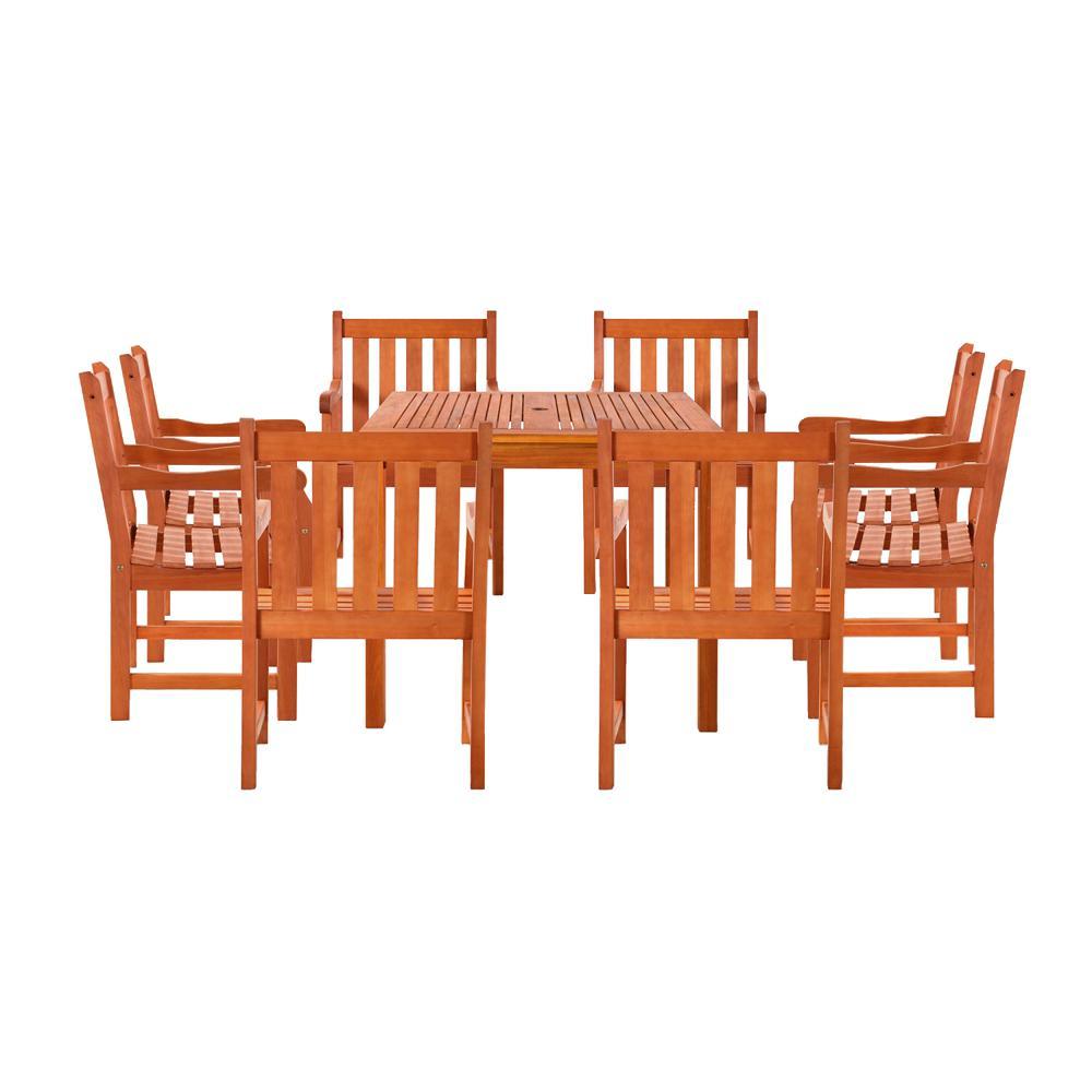 Benji 9-Piece Wood Square Outdoor Dining Set