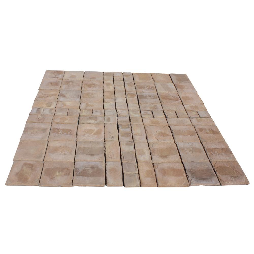 null Cass Stone 100 sq. ft. Brown Concrete Paver Kit