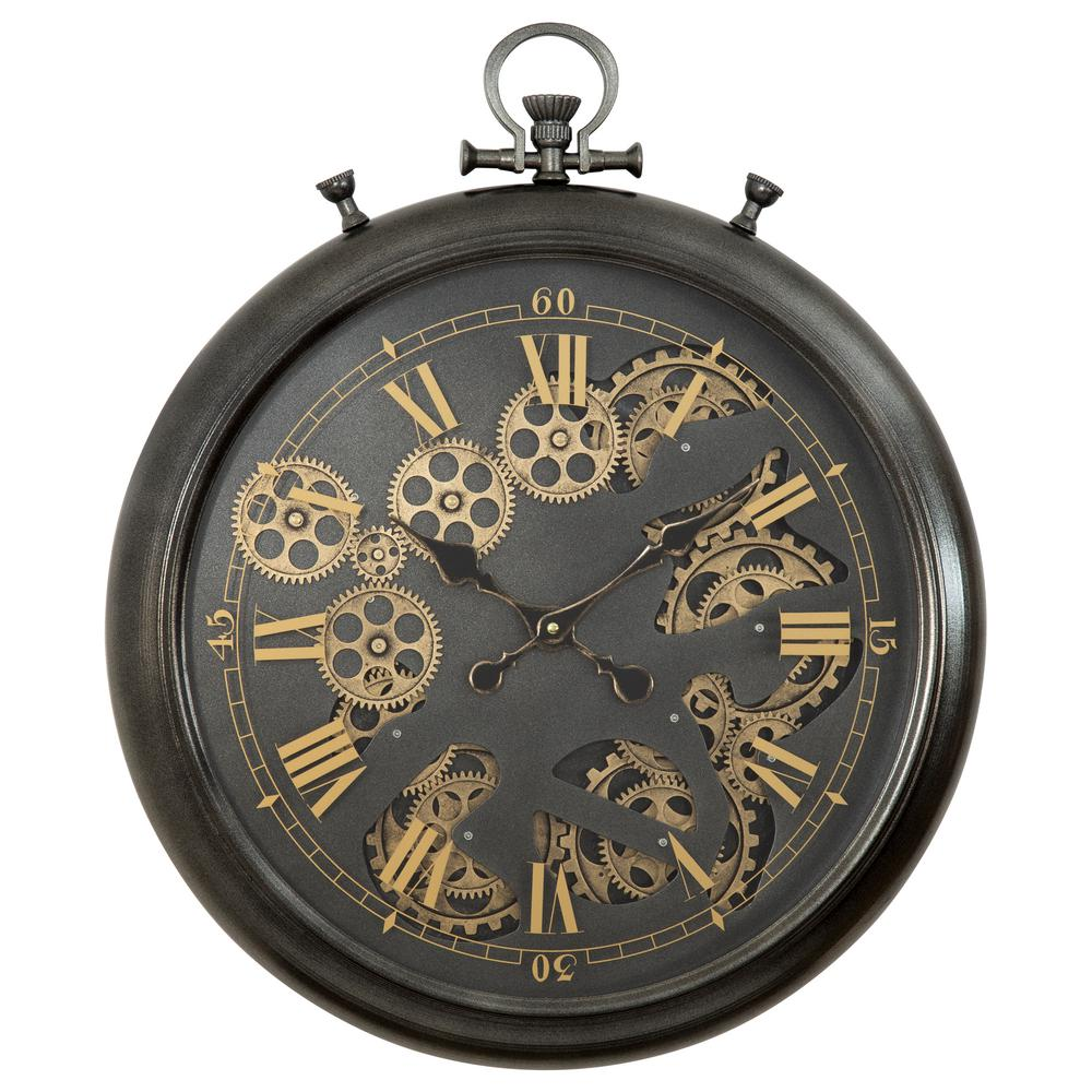 Extra Large Vintage Style Statement Metal Wall Clock Country Style Chocolat CL