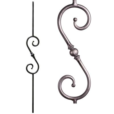 Tuscan Round Hammered 44 in. x 0.5625 in. Satin Clear Single Sphere Scroll Solid Wrought Iron Baluster