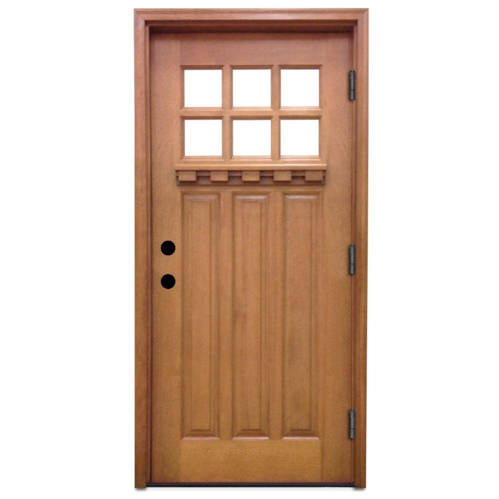 Home Depot Doors Exterior: Steves & Sons 36 In. X 80 In. Craftsman 6 Lite Stained