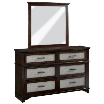 Dazzle 6-Drawer Chocolate and Champagne Dresser with Mirror