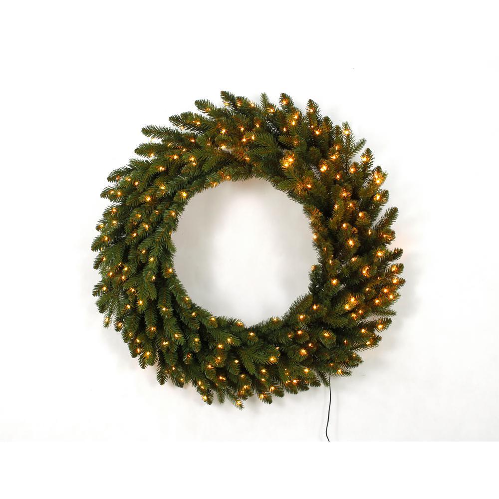 36 in. Pre-Lit LED Artificial Christmas Aspen Fir Wreath