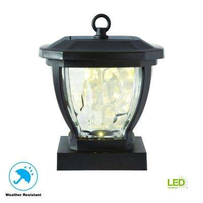 Solar Bronze Outdoor Integrated LED Deck Post Light with Water Glass Lens (2-Pack)