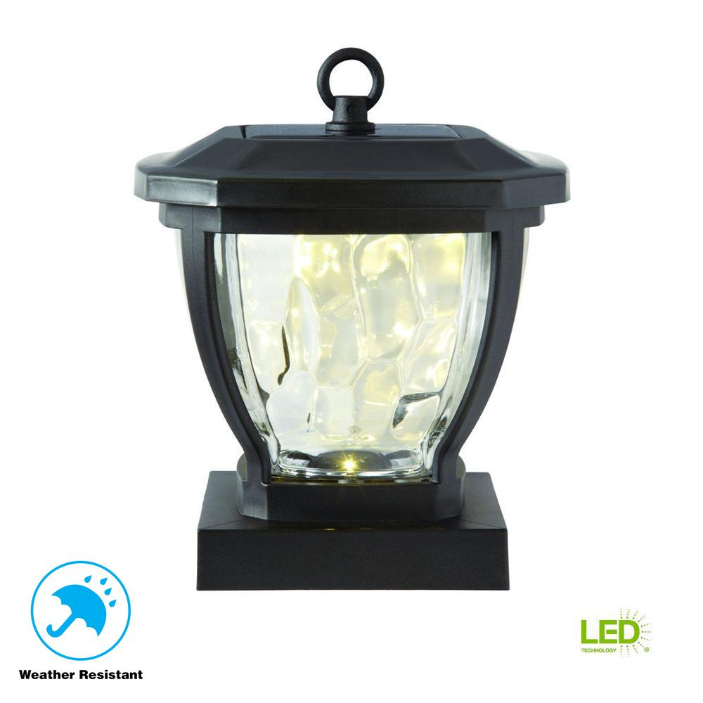Solar Bronze Outdoor Integrated LED Deck Post Light with Water Glass
