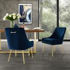 Capelli Navy/Gold Velvet Metal Leg Armless Dining Chair (Set of 2)