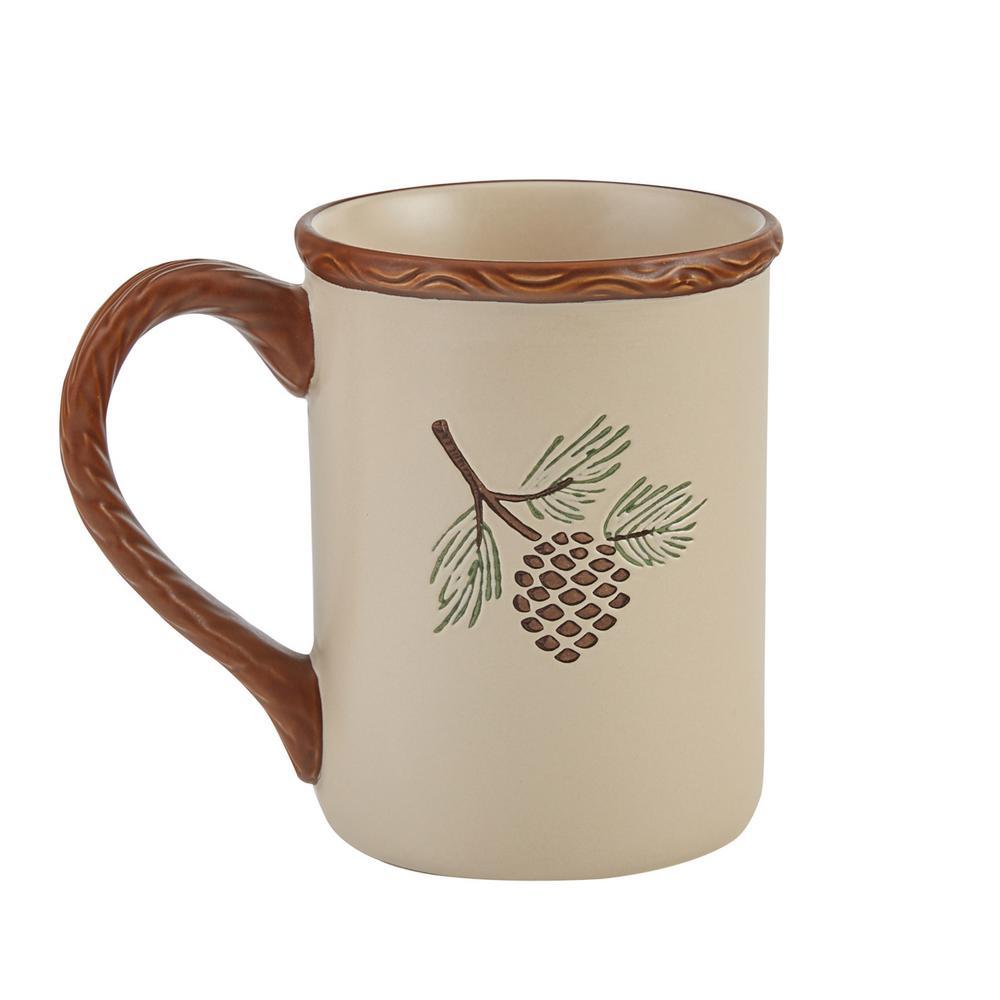 Park Designs Pinecroft 12 Oz Tan Ceramic Coffee Mug Set Of 4 692 660 The Home Depot