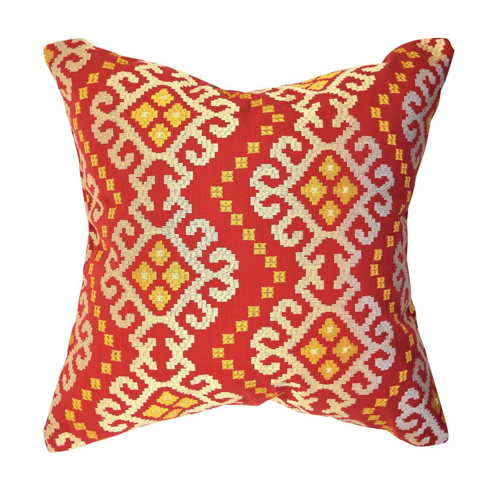 Vesper Lane Red Moroccan Jacquard Throw Pillow Mr01rdz18i The Home Depot