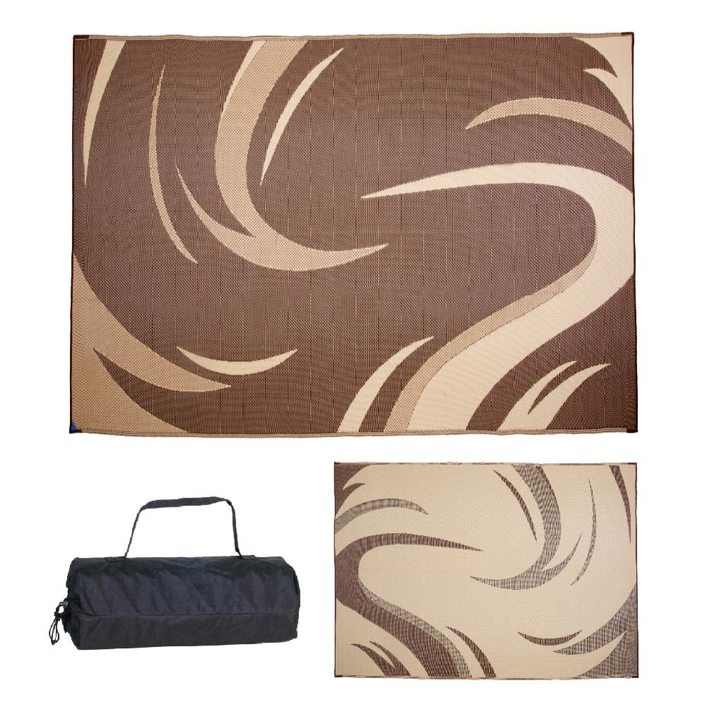 Stylish Camping 8 Ft X 11 Ft Swish Brown Tan Reversible Mat Sd8117