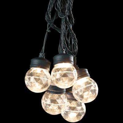 8-Light Outdoor Projection Classic White Round Light String with Clips