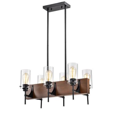 Solvyr 6-Light Forged Black Metal Chandelier with Clear Tube Shades