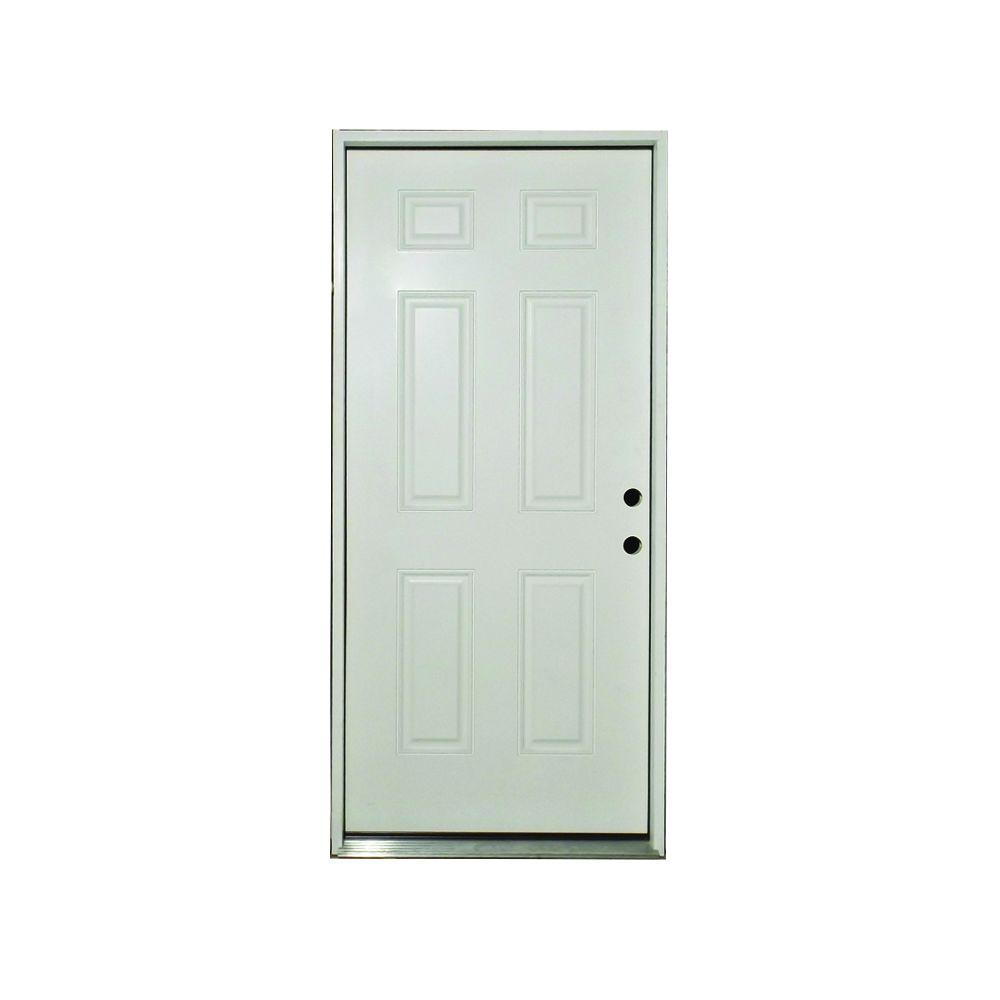 Steves sons 36 in x 80 in classic premium 6 panel left hand outswing primed white steel 36 x 80 outswing exterior door