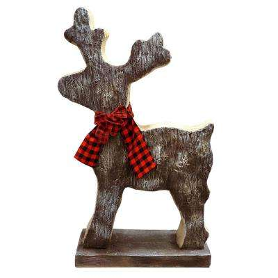 Alpine Corporation Wooden Christmas Reindeer Statue with Festive Bow, Holiday Décor for Home