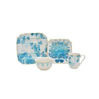 Florableu 16-Piece Blue Dinnerware Set