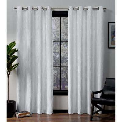 Forest Hill 52 in. W x 96 in. L Woven Blackout Grommet Top Curtain Panel in Winter (2 Panels)