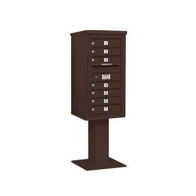 3400 Series 62-1/8 in. 9 Door High Unit Bronze 4C Pedestal Mailbox with 7 MB1 Doors