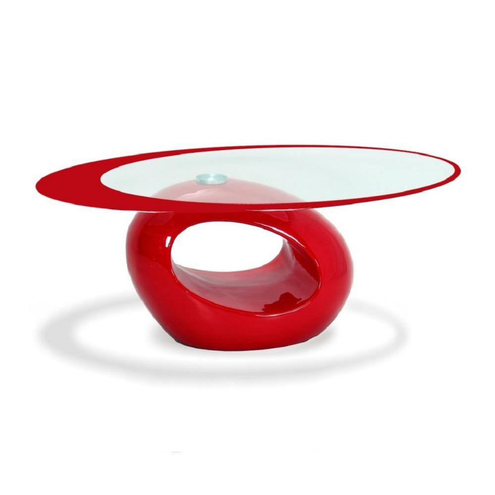 Stylish Red Oval Shape Coffee Table