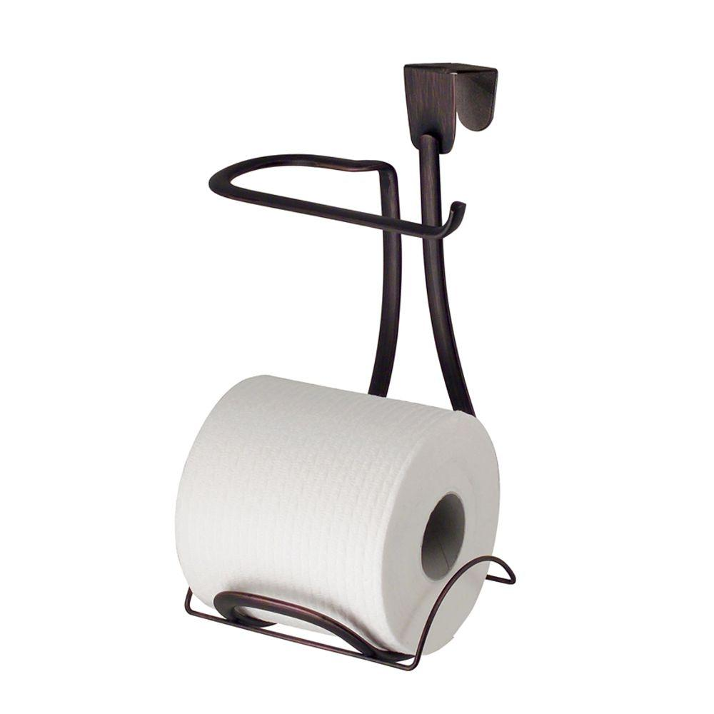 interDesign Axis Over-the-Tank Toilet Paper Holder Plus in Bronze