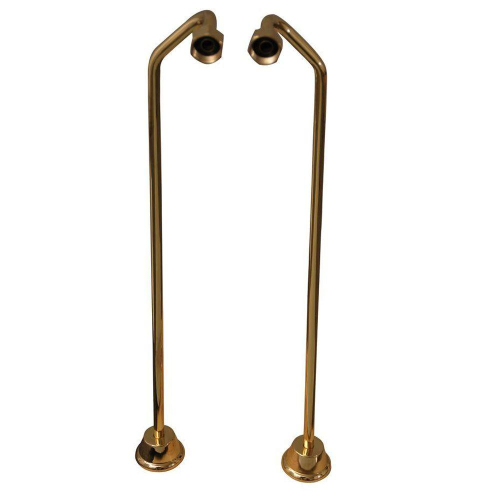 Barclay Products 1/2 in. x 0.8 ft. Brass Offset Bath Supplies in Polished Brass Barclay provides all your bathroom essentials. These double offset bath supplies for your claw foot tub are available in designer finishes. Stops can be purchased separately. Color: Polished Brass.