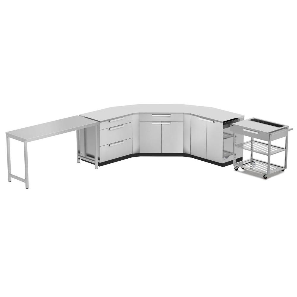 Stainless Steel Classic 10-Piece 150x36x86 in. Outdoor Kitchen Cabinet Set