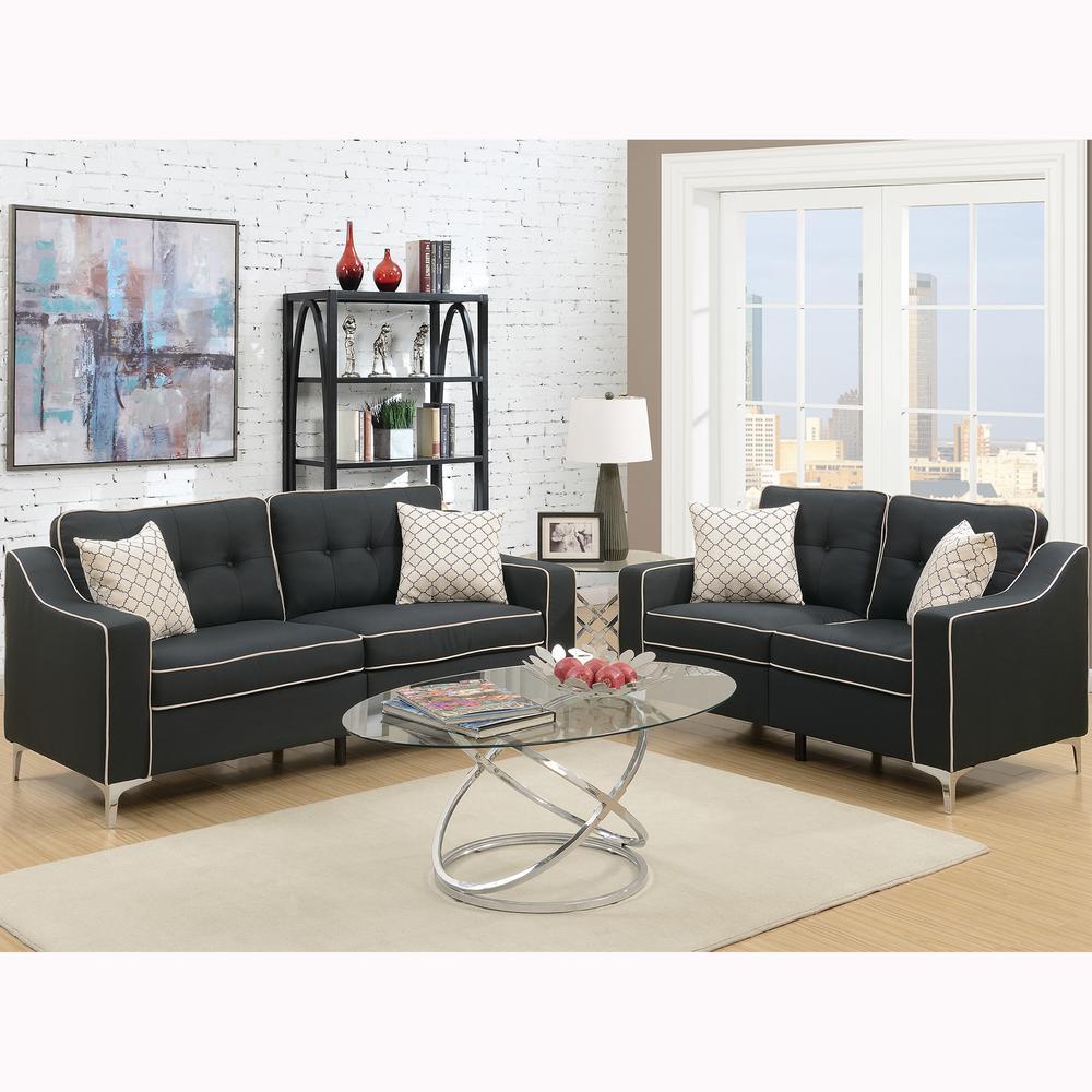Venetian Worldwide Campania 2-Piece Black Sofa Set Polyfiber ...
