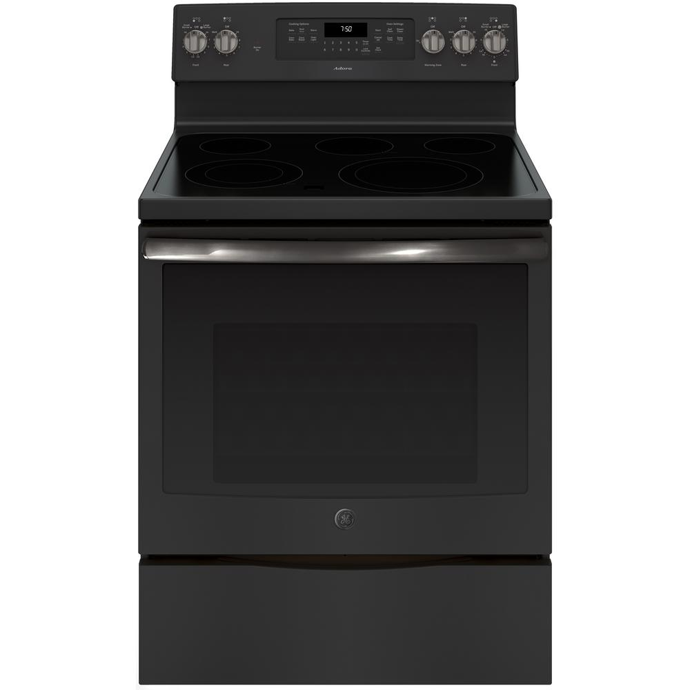 Ge Adora 5 3 Cu Ft Electric Range With Self Cleaning Convection Oven In Black Slate Fingerprint Resistant Jb755fjds The Home Depot