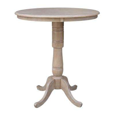 Weathered Taupe Gray Solid Wood Pedestal Table