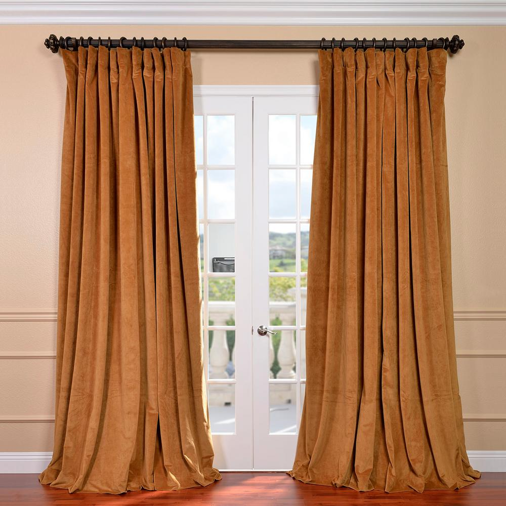Exclusive Fabrics Furnishings Blackout Signature Amber Gold Doublewide Velvet Curtain 100 In