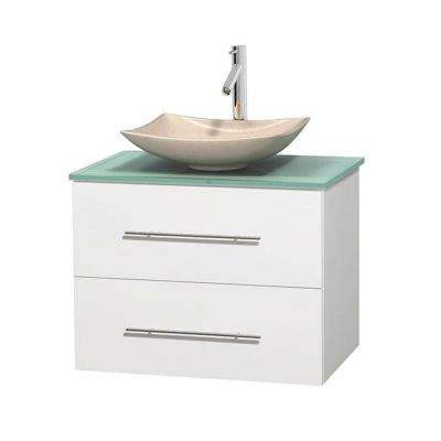 Centra 30 in. Vanity in White with Glass Vanity Top in Green and Sink
