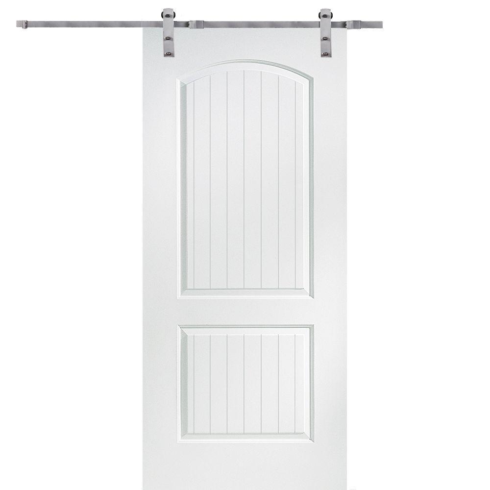 MMI Door 36 In. X 80 In. Primed Composite Santa Fe Smooth Surface Solid  Core Door With Barn Door Hardware Kit Z009525   The Home Depot