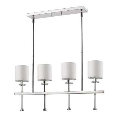 Kara Indoor 4-Light (Island)Polished Nickel Chandelier with Shades and Crystal Bobeches