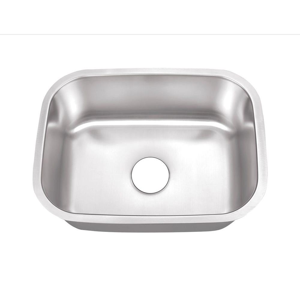Belle Foret Undermount Stainless Steel 24 In. 0 Hole Single Bowl Kitchen  Sink