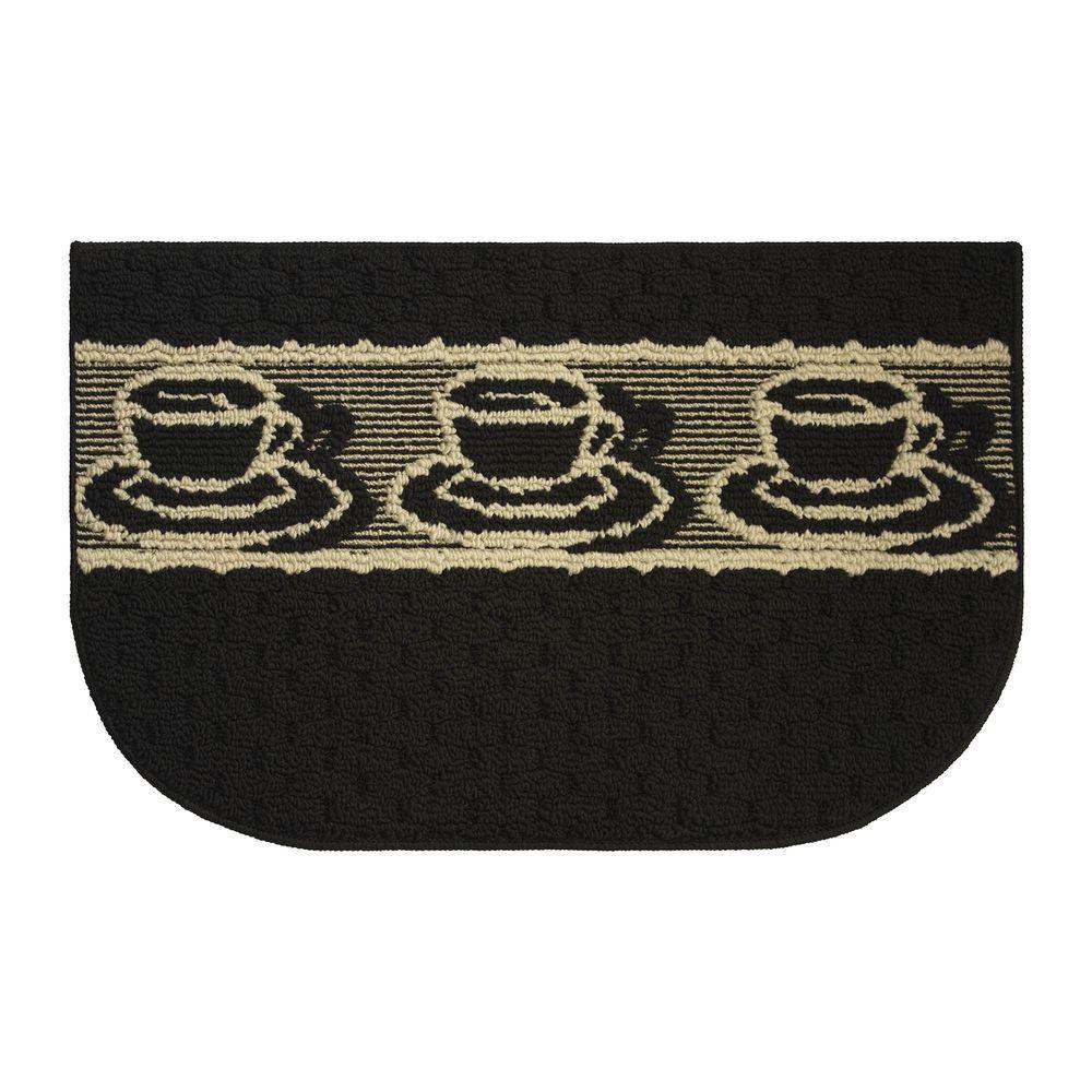 Afternoon Coffee Textured Loop Black/Berber 18 in. x 30 in. Kitchen Rug