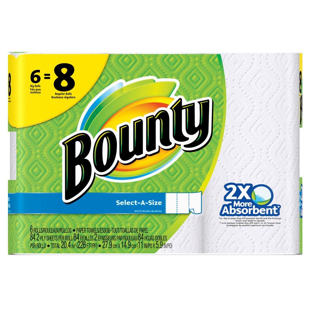 Bounty Full Sheet Paper Towels Giant Rolls: Bounty Select-A-Size White Paper Towels (6 Big Rolls