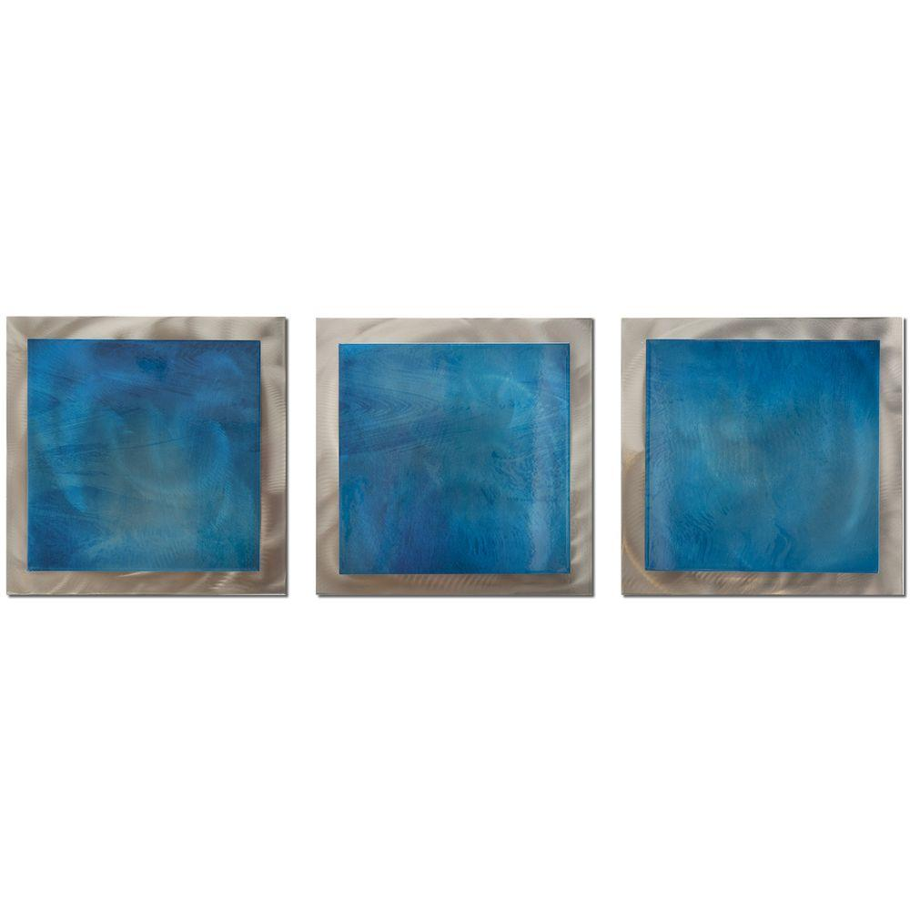 Filament Design Brevium 12 in. x 38 in. Blue Essence Metal Wall Art (Set of 3)