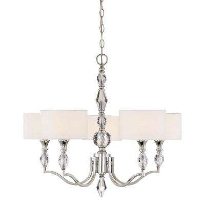 Evi 5-Light Chrome Chandelier with White Linen Clear Faceted Crystal Shade