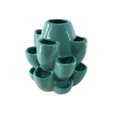10 in. H x 8.5 in. Dia Turquoise Ceramic Strawberry Jar with 16-Pockets