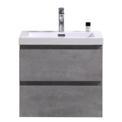 Bohemia 24 in. W Bath Vanity in Cement Gray with Reinforced Acrylic Vanity Top in White with White Basin