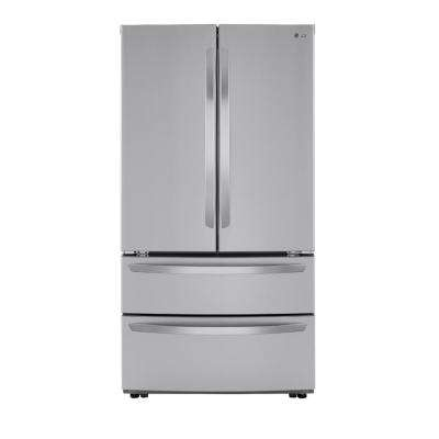 23 cu. ft. 4-Door French Door Refrigerator with 2 Freezer Drawers in PrintProof Stainless Steel, Counter Depth