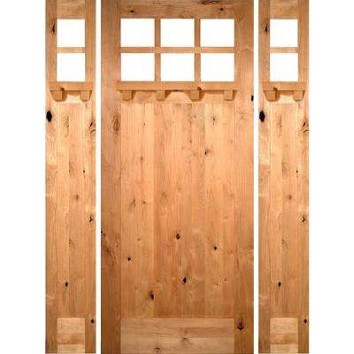 70 in. x 96 in. Craftsman Knotty Alder 1 Panel 6-Lite DS Unfinished Left-Hand Inswing Prehung Front Door with Sidelites