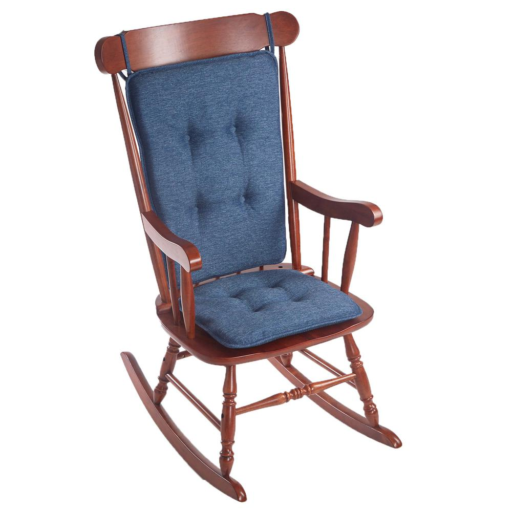 Beau Klear Vu Embrace Blue Tufted Rocking Chair Cushion Set With Gripper Back  And Ties