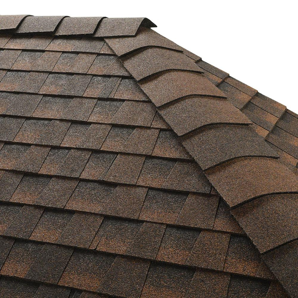 GAF Timbertex Hickory Double-Layer Hip and Ridge Cap Roofing Shingles (20 lin. ft. Per Bundle) (30-pieces)