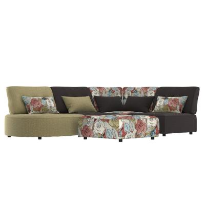 Domena 5-Piece Apple Green, Charcoal Gray and Multi Floral Modular Sectional