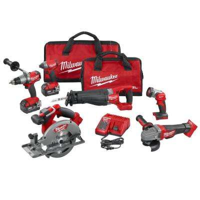 M18 FUEL 18-Volt Lithium-Ion Brushless Cordless Combo Kit (6-Tool) with (2) 5.0 Ah Batteries, (1) Charger, (2) Tool Bags